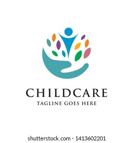 child care with helping hand and colorful leaf logo icon vector template