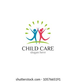 Child care icon vector logo design template  white background