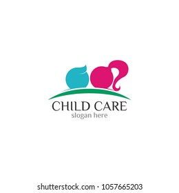 Child care icon vector logo design template  white background