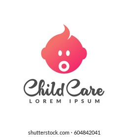 Child care logo. Baby logo. Baby care icon. Motherhood, mothers day, pregnancy, pregnant, center sign