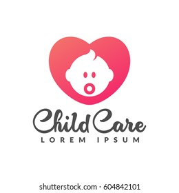 Child care logo. Baby logo. Baby care icon. Motherhood, mothers day, pregnancy, pregnant, center sign. Heart icon.