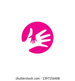 Child Care Logo, Little Hand Holding In Big Hand Silhouette In Pink Circle Background