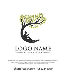 Child care. Tree logo. Education  design template. Tree symbol. Vector illustration