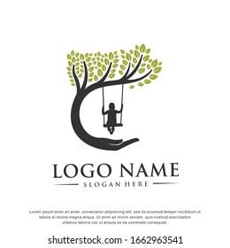 Child care.Tree logo.Modern design.Vector illustration concept