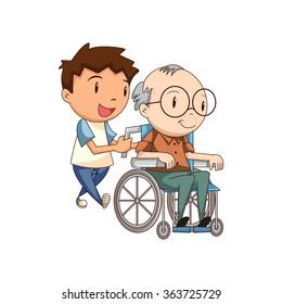 Child caring old man, vector illustration