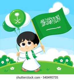 Child carrying Saudi Arabia Flag