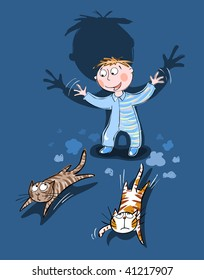 Child chasing cats - vector