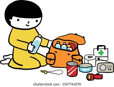 A child checking disaster prevention goods.