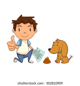 Child cleaning dog waste, clean up after your pet, vector illustration