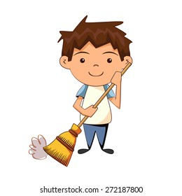 Child cleaning, sweeping, vector illustration