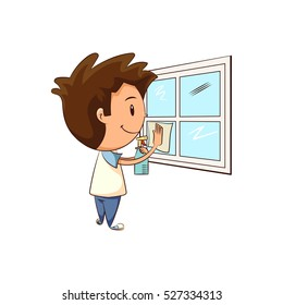 Child cleaning window