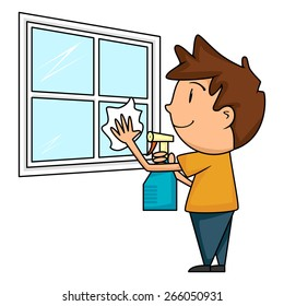 Child cleaning window, vector illustration