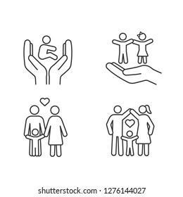 Child custody linear icons set. Thin line contour symbols. Childcare. Children's rights and protection, happy families. Positive parenting. Isolated vector outline illustrations. Editable stroke