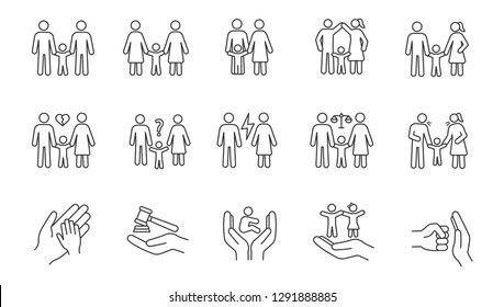 Child custody linear icons set. Thin line contour symbols. LGBT families. Adoption and orphanage. Family court. Children's rights. Isolated vector outline illustrations. Editable stroke