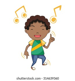 Child dancing, vector illustration, isolated