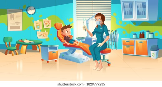 Child at dentist office. Little boy patient at dental clinic for kids, female doctor in medic robe and mask sitting at chair with mirror for teeth and oral cavity checkup. Cartoon vector illustration