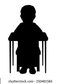 Child Desk School Sitting silhouette vector