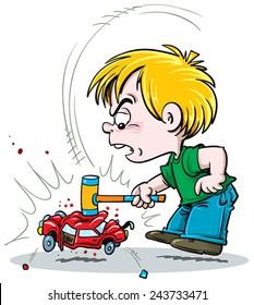 child destroying toys