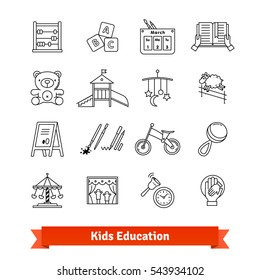 Child development & childhood education. Thin line art icons set. Kids toys, care, routine. Linear style symbols isolated on white.