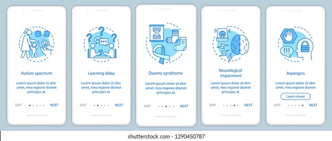 Child disorders onboarding mobile app screen vector template. Nursing. Kids diseases. Autism, aspergers, downs syndrome walkthrough website steps. Childcare center. UX, UI, GUI smartphone interface