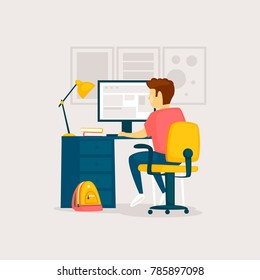 Child does homework at the computer, interior. Flat design vector illustration.