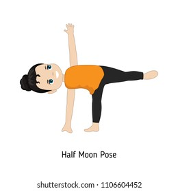 Child doing yoga. Half Moon Yoga Pose. Cartoon style illustration isolated on white background.