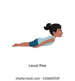 Child doing yoga. Locust Yoga Pose. Cartoon style illustration isolated on white background.