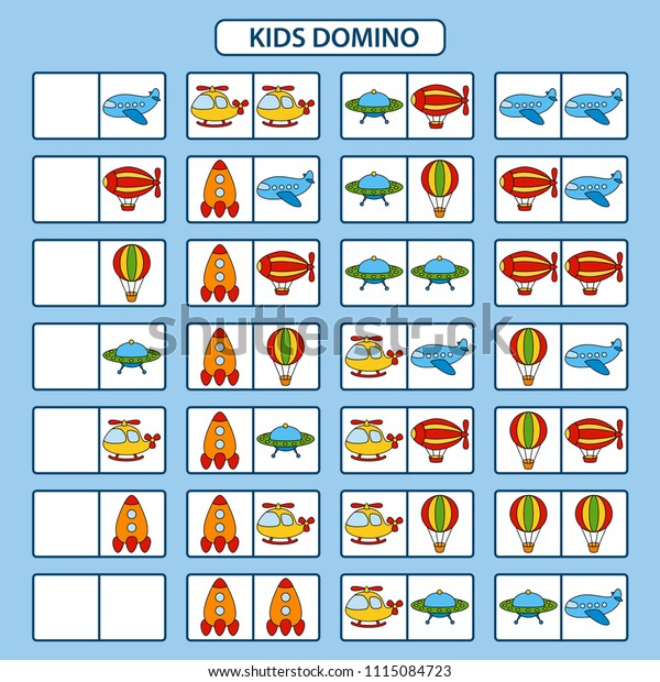 Child Dominoes On Theme Air Transport Stock Vector (Royalty
