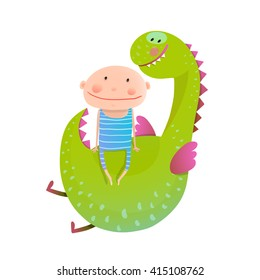 Child and dragon friendly friendship happy together. Baby and dragon. Animal cute monster, small kid cheerful, vector illustration.