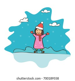 Child drawing girl, greeting card with new year and christmas. Drawing banner for design. Vector simple flat illustration