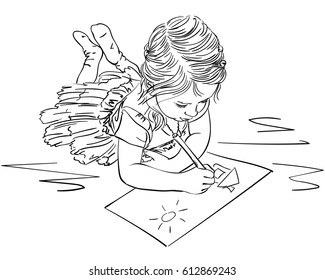 Child drawing house and sun on paper while lying on floor, Vector sketch, Hand drawn line art illustration