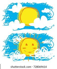 child drawing sun