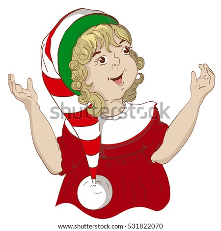 Child Dressed Christmas Elves Girl Curly Stock Vector Royalty Free