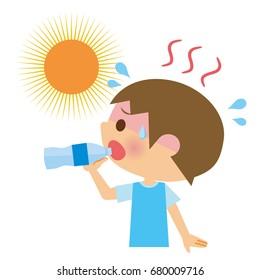 Child to drink water.heatstroke