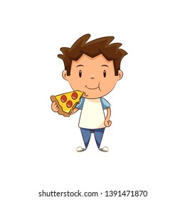 Child eating pizza, cute kid fast food
