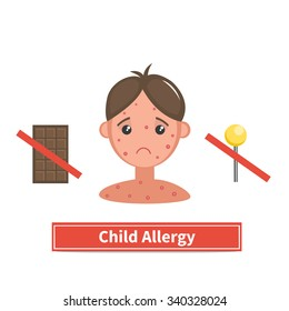 Child face covered by acne, allergy symptoms. Child allergy and child acne. Concept vector illustration isolated on white background. Flat cartoon style.