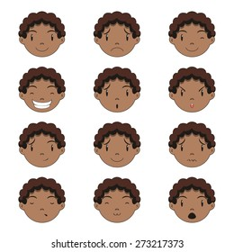 Child face expressions, set collection, vector illustration
