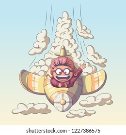 Child is flying in an airplane through the clouds