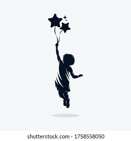 A child is flying holding balloons logo