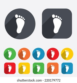 Child footprint sign icon. Toddler barefoot symbol. Circles and rounded squares 12 buttons. Vector