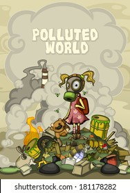 Child in a gas mask standing on a pile of garbage.  At the top of the cloud of smoke space for text