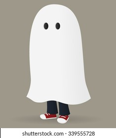 Child in a ghost costume