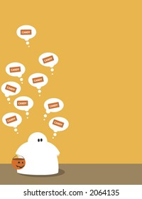 a child in ghost costume thinking about candy