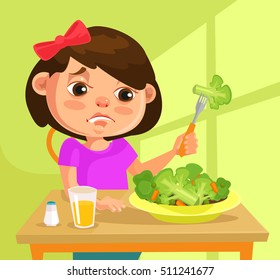 Child girl character does not want to eat broccoli. Vector flat cartoon illustration