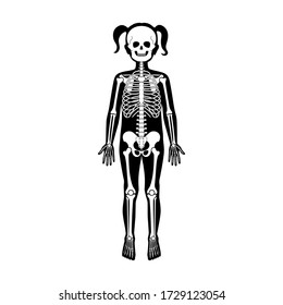 Child girl skeleton anatomy in front, profile and back view. Vector isolated flat illustration of skull and bones in human kid body. Halloween, medical, educational or science banner.