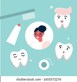 Child girl surrounded by oral care equipment and cute smiling teeth characters. Dental health concept. Flat vector illustration.