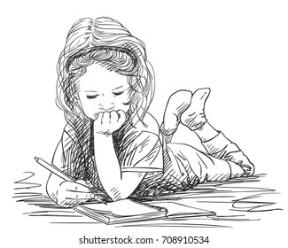 Little Girl Writing Images, Stock Photos & Vectors | Shutterstock