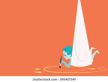Child with hammock painting the ground - vector illustration