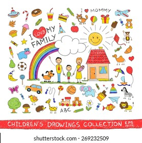 Child hand drawing illustration of happy family with kids near home, dog, sun, rainbow. Cartoon sketch image of children pencil painting vector doodles set: sweets, lollipop, food, baby toys, animals.