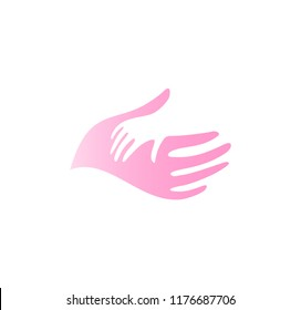 Child hand in mother hand vector icon. Pediatrician abstract logo template. Flat tender pink palm silhouette, abstract symbol. Isolated vector illustration on white background.